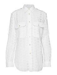 Eyelet Linen Shirt - WHITE