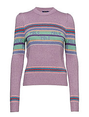 Puff-Sleeve Polo Jumper - LILAC MULTI