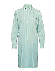 Striped Poplin Shirtdress - 112A SEAFOAM GREE