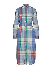 Cotton Madras Shirtdress - 101 SOFT BLUE/PIN