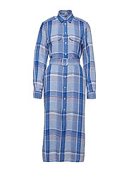 Plaid Linen Shirtdress - 3270 ROYAL/OCEAN