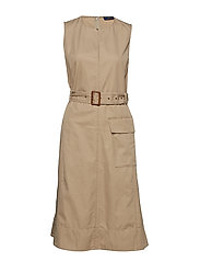 Chino Belted Sleeveless Dress