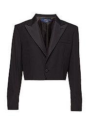 Cropped Wool Tuxedo Jacket - POLO BLACK