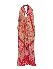 Bandanna-Print Halter Dress - RED BANDANA PRINT