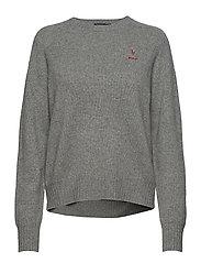 Wool Crewneck Sweater - FAWN GREY HEATHER