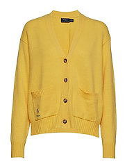 Wool Long-Sleeve Cardigan - RACING YELLOW