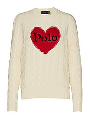 Polo-Heart Cable-Knit Sweater - CREAM W/ RED
