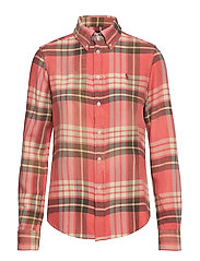 Classic Fit Plaid Shirt - 206 RED/NAVY