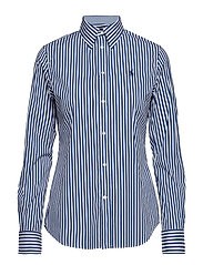Stretch Slim Fit Striped Shirt - 952C ROYAL/WHITE