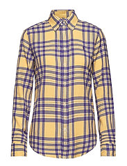 Classic Fit Plaid Twill Shirt - 216B PURPLE/YELLO
