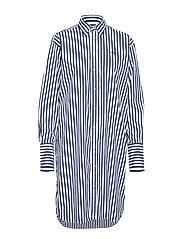 Striped Cotton Shirtdress - 204A WHITE/FALL R