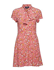 Necktie Fit-and-Flare Dress - BLUSH FLORAL