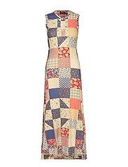 Patchwork Sleeveless Dress - PATCHWORK MULTI