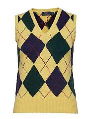 Argyle Sweater Vest - YELLOW MULTI