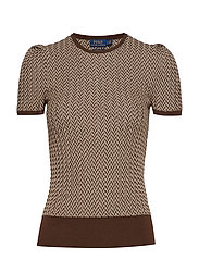 RIBBED HERRINGBONE-SSL-SWT - BROWN/CREAM
