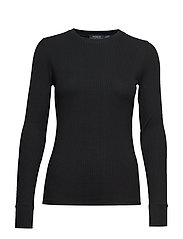 Elbow-Patch Rib-Knit Top - POLO BLACK