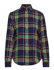 Plaid Cotton Shirt - 404 NAVY/YELLOW