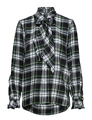 Plaid Necktie Cotton Shirt - 406 GREEN/CREAM