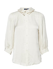 Ruffle-Collar Satin Shirt - CLUBHOUSE CREAM