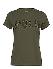 Beaded-Logo Cotton Tee - DEFENDER GREEN