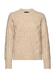 Aran-Knit Wool-Blend Sweater - OATMEAL