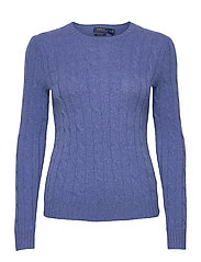 Cable-Knit Cashmere Sweater - DEEP BLUE HEATHER