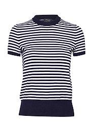 Striped Short-Sleeve Sweater - BRIGHT NAVY/WHITE