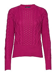 Cotton Cable-Knit Sweater - ACCENT PINK