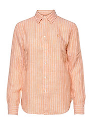 Relaxed Fit Linen Shirt - 1051 PEACH/WHITE