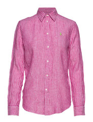 Relaxed Fit Linen Shirt - 542A PINK/WHITE