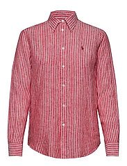 Relaxed Fit Linen Shirt - 542D RED/WHITE