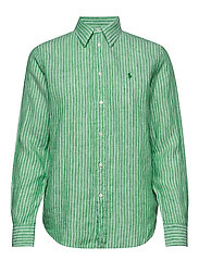 Relaxed Fit Linen Shirt - 542E GREEN/WHITE