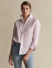 Polo Ralph Lauren - Relaxed Fit Linen Shirt - langærmede skjorter - 911 white/pink - 0