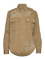 Beaded Twill Shirt - DESERT TAN