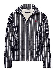 Striped Packable Down Jacket - NAVY/WHITE STRIPE