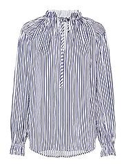 Striped Satin Shirt - 523 WHITE/BLUE