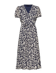 Floral Crepe Wrap Dress - NAVY FLORAL