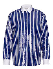 Sequined Stripe Shirt - BLUE/WHITE