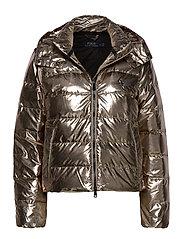 Metallic Down Jacket - OLIVE PEWTER
