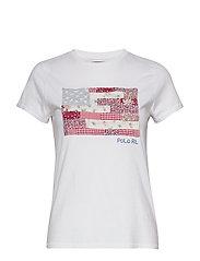 Patchwork Flag Cotton Tee - WHITE