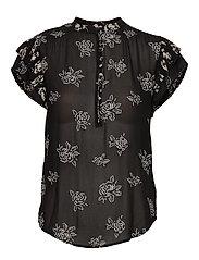 Rose-Print Crepe Blouse - BLACK/WHITE FLORA