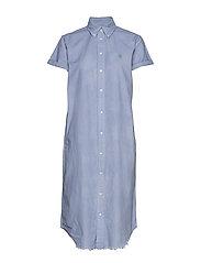 Cotton Oxford Shirtdress - BLUE LAGOON