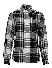 Plaid Linen Button-Down Shirt - 713 WHITE/BLACK