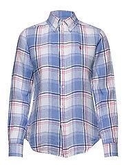 Plaid Linen Button-Down Shirt - 781 BLUE/RED/WHIT