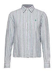 Striped Linen Shirt - 508 BLUE GREEN/WH