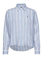 Striped Linen Shirt - 779 BLUE LAGOON/W