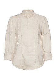 Lace-Trim Linen Blouse - ANTIQUE CREAM