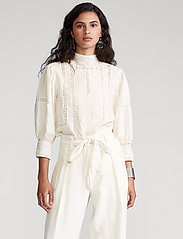 Polo Ralph Lauren - Lace-Trim Linen Blouse - long sleeved blouses - antique cream - 0