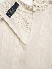 Polo Ralph Lauren - Lace-Trim Linen Blouse - long sleeved blouses - antique cream - 5