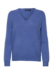 Wool-Blend V-Neck Sweater - DEEP BLUE HEATHER